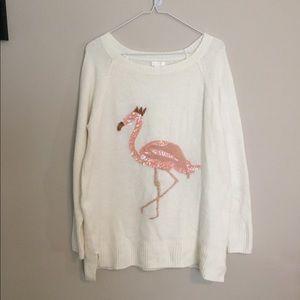 LC Lauren Conrad Sequined Flamingo Sweater